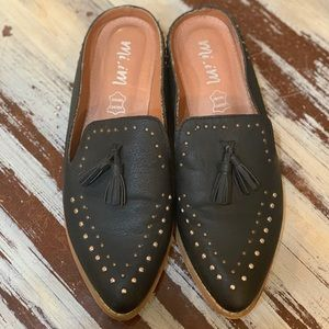 Mi.iM blacked studded leather loafers with tassels